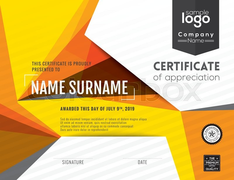 Modern certificate with polygonal background design template stock modern certificate with polygonal background design template vector yadclub Image collections
