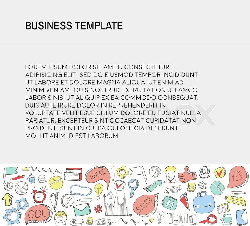 business card template with business doodles icons set sketch