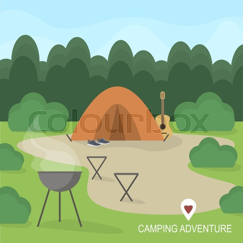 Hiking and outdoor recreation concept with flat camping travel icons. Vector illustration, vector