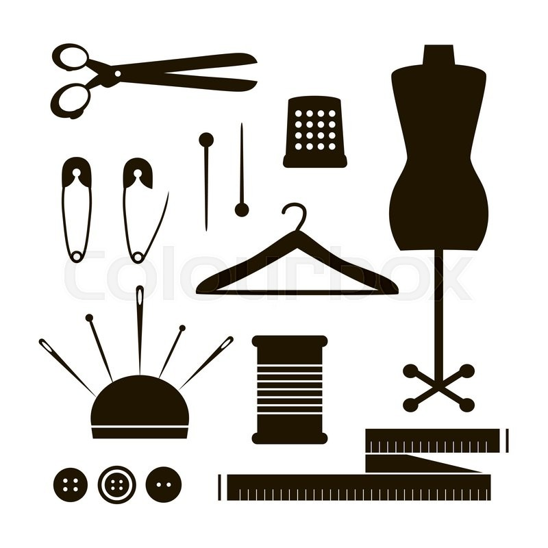 set of tailor tools silhouette vector sewing items collection