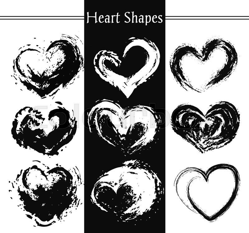 set of nine artistic hearts heart shapes heart retro shape heart