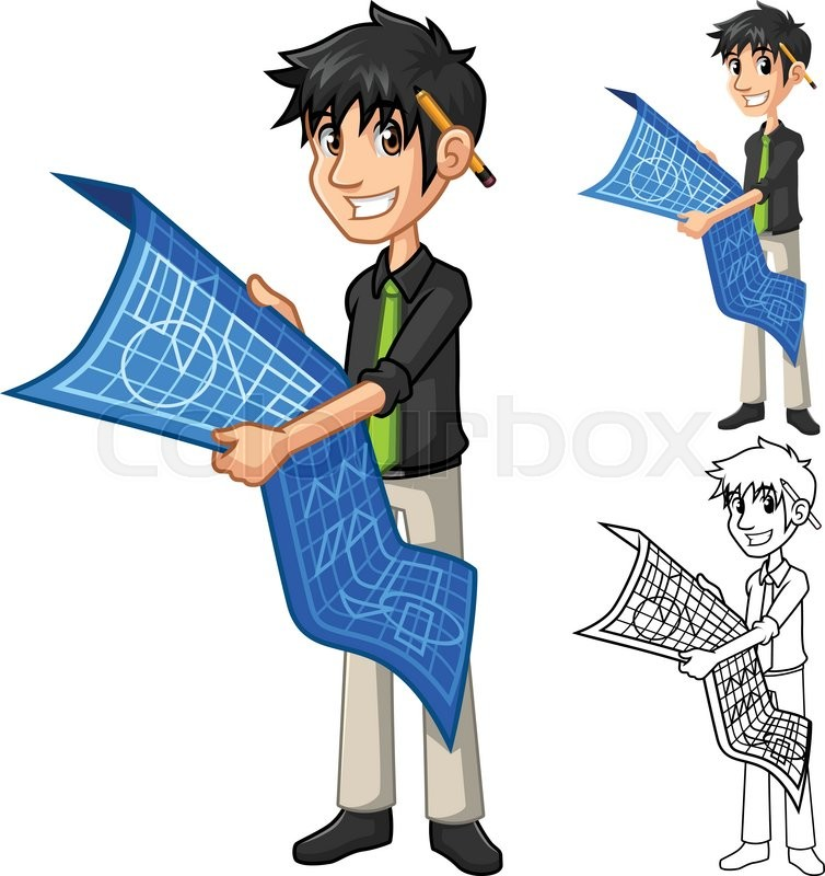 architect cartoon character plan holding map vector businessman include designer colourbox flat version illustration line