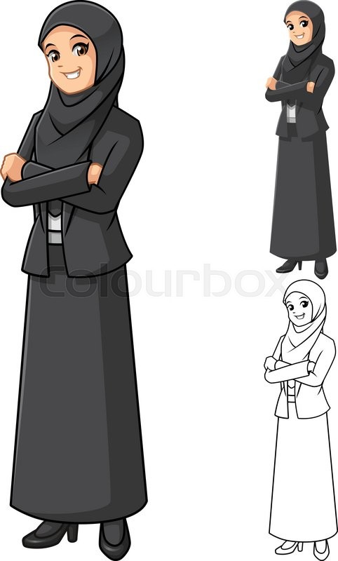Art Line Uae : Muslim businesswoman wearing black veil or scarf with