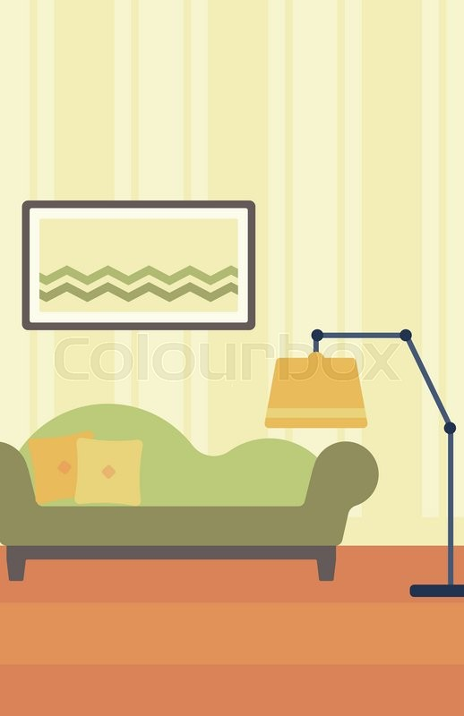 Background Of Living Room With Sofa And Picture On The Wall Vector Flat Design Illustration Vertical Layout