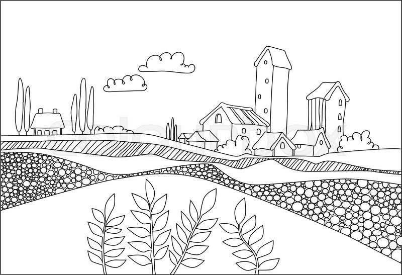 Black white village, field and plants in cartoon style. Italian ...