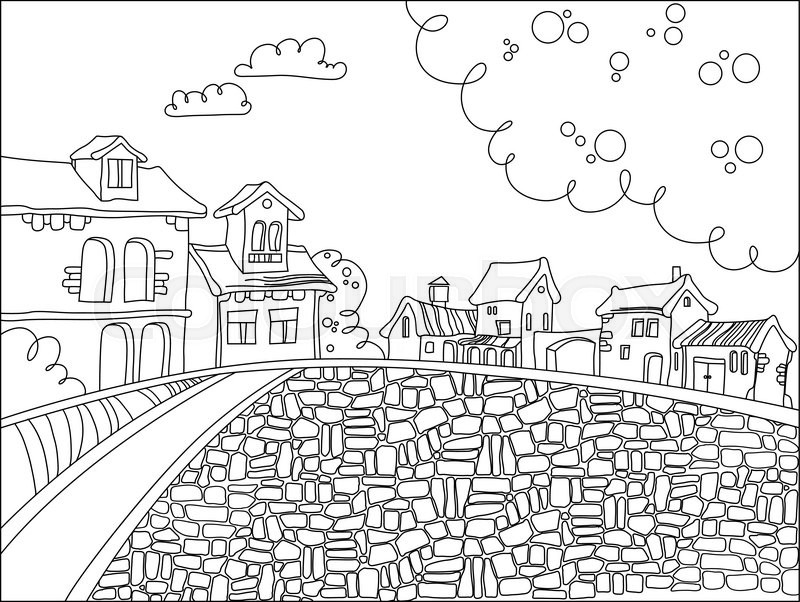 Black and white town square in cartoon ...   Stock Vector ...