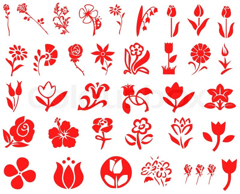 Abstract Flower Icons Stock Vector: Red Flower Icons - Vector Icon Set