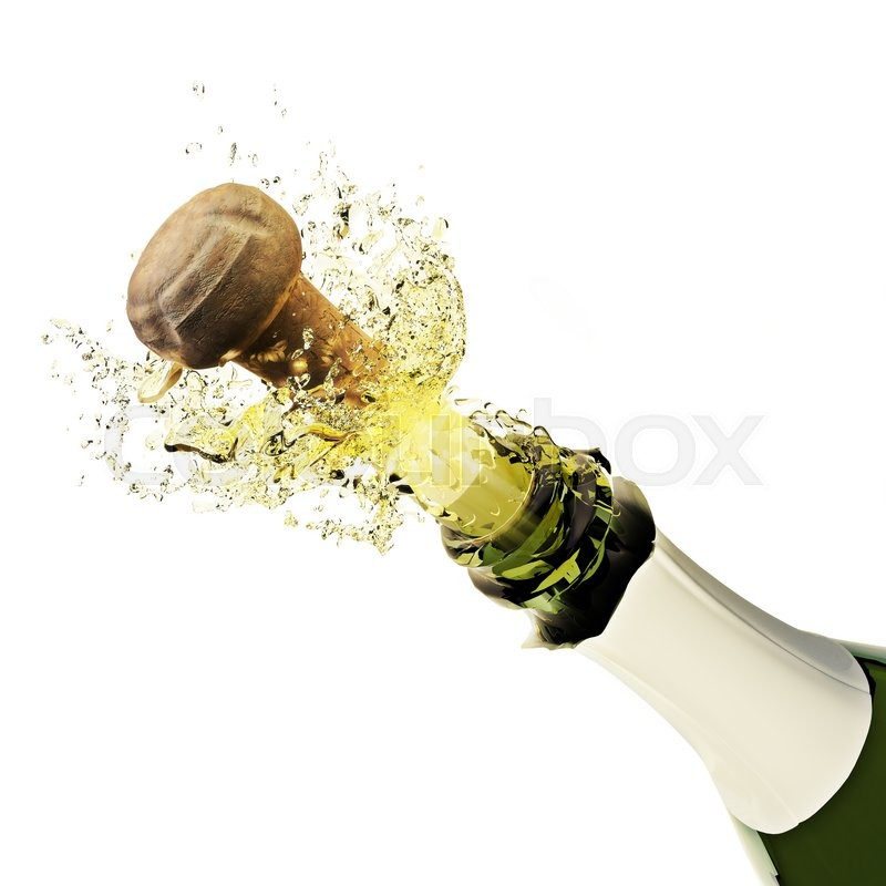 champagne bottle popping on a white background stock photo colourbox