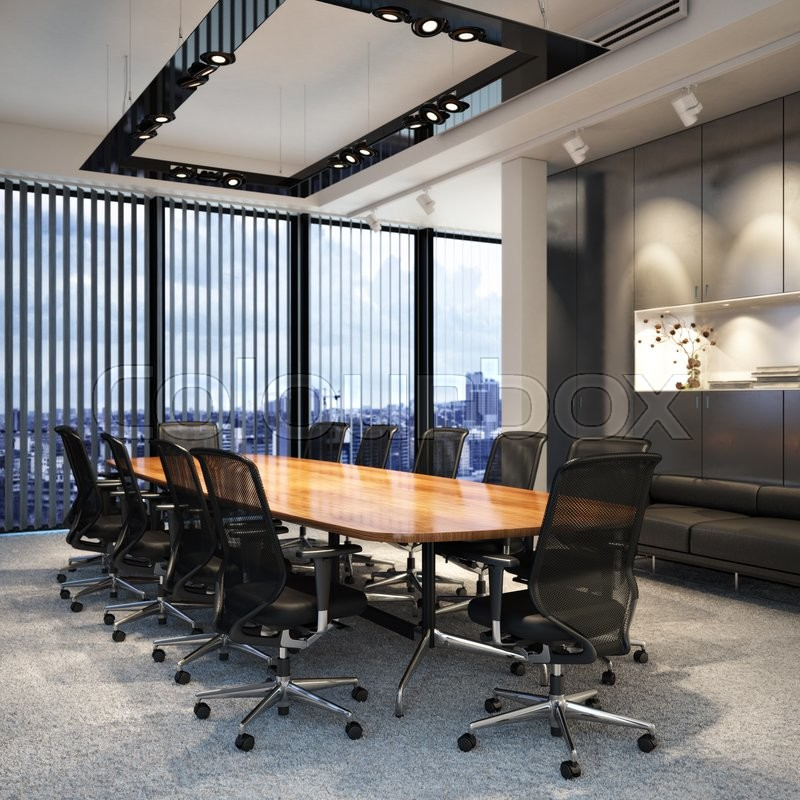 Executive modern empty business office conference room overlooking a city. Photo realistic 3d model scene, stock photo