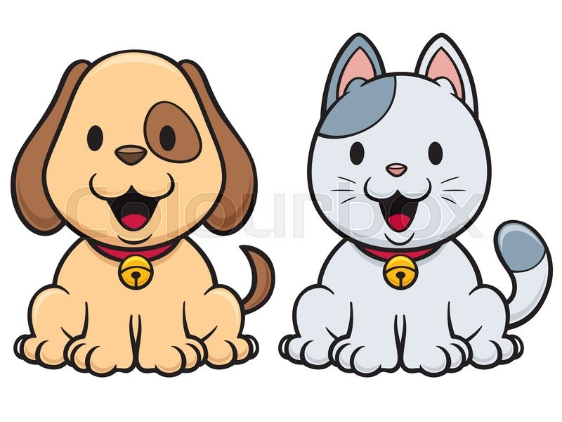 Vector illustration of Cartoon Cat and Dog   Stock Vector ...