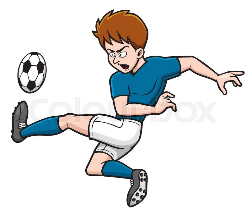 Cartoon Characters Playing Sports : Vector illustration of cartoon soccer player shooting