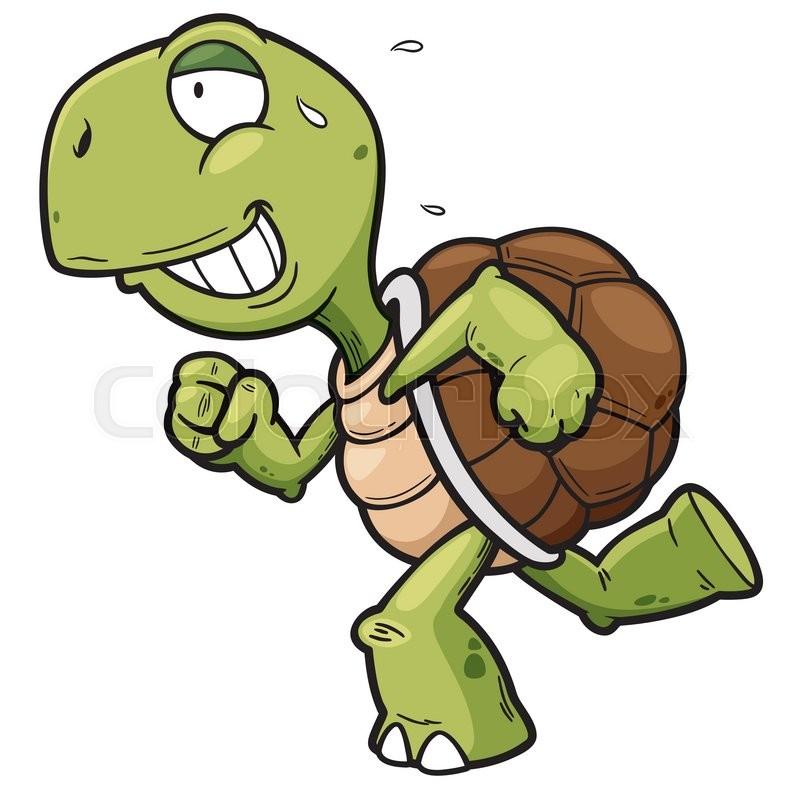 Vector illustration of Cartoon Turtle running  Stock Vector