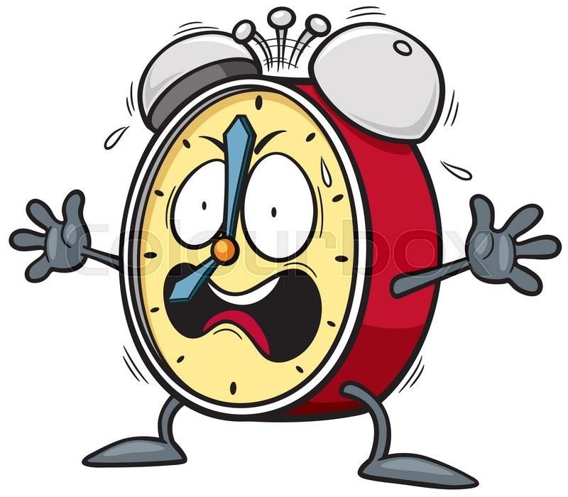 vector illustration of cartoon alarm clock scared stock vector