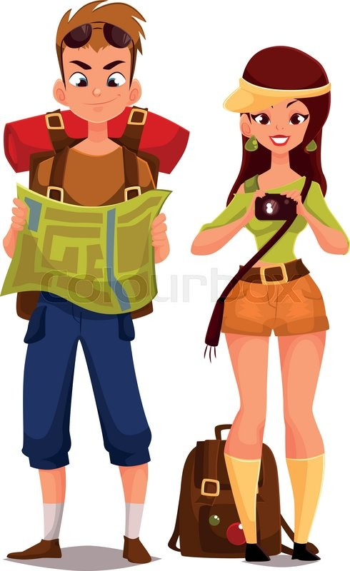 Two Young Tourists On Vacation Vector Cartoon Funny