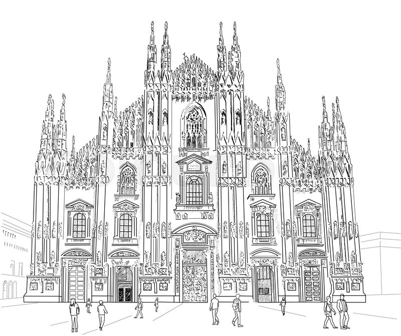 Milan Cathedral Gothic Architecture Vector Hand Drawn