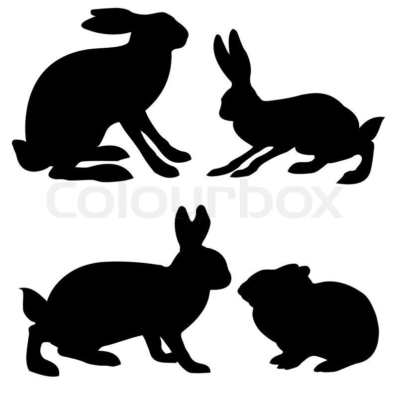 Silhouetten hase und kaninchen auf wei em hintergrund - Dessin du lievre et de la tortue ...