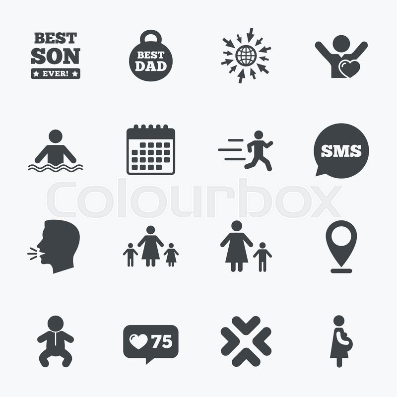 Calendar, go to web and like counter. People, family icons. Swimming, baby and pregnant woman signs. Best dad, runner and fan symbols. Sms speech bubble, talk symbols, vector