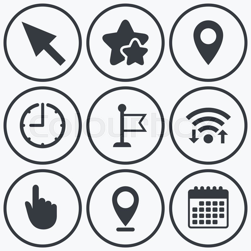 Clock Wifi And Stars Icons Mouse Cursor Icon Hand Or Flag Pointer