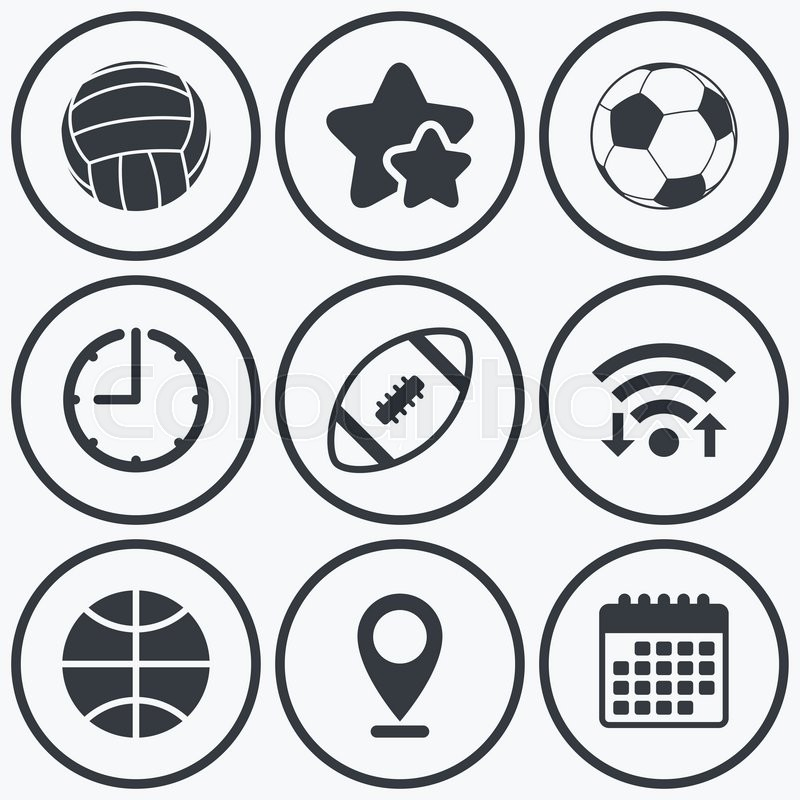 Clock, wifi and stars icons. Sport balls icons. Volleyball, Basketball, Soccer and American football signs. Team sport games. Calendar symbol, vector