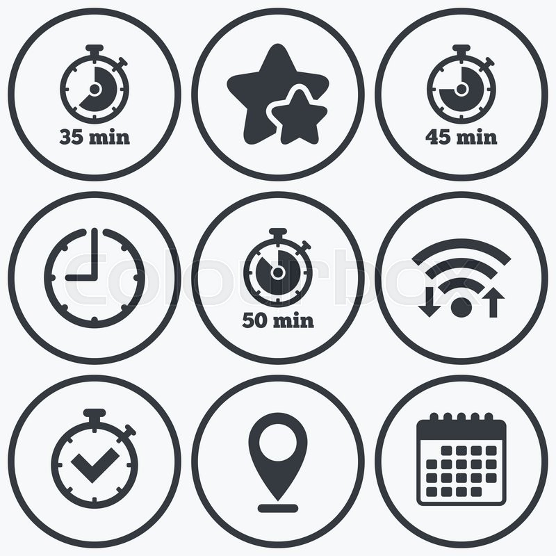 Clock Wifi And Stars Icons Timer Icons 35 45 And 50 Minutes