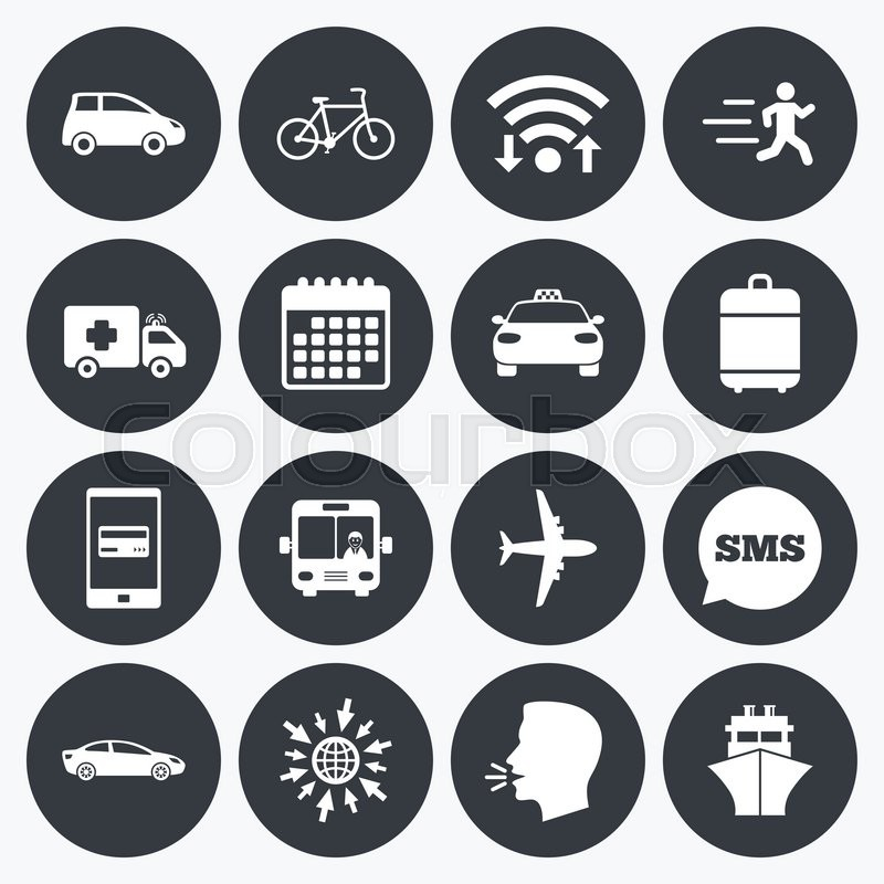 Wifi Calendar And Mobile Payments Transport Icons Car Bike Bus