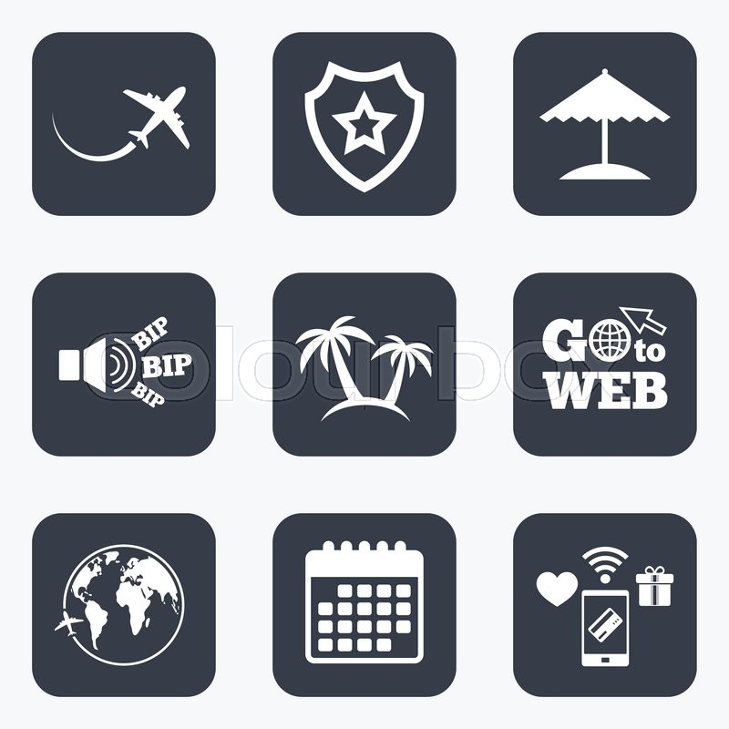 Mobile Payments Wifi And Calendar Icons Travel Trip Icon Airplane