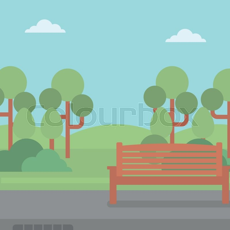 Background of park with a bench and an asphalt path vector flat design ...