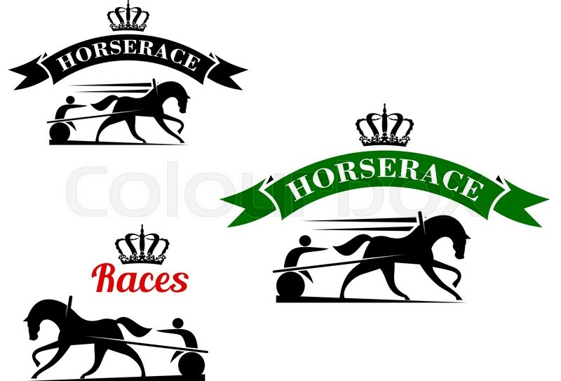 Equestrian sport competition icons for harness racing design equestrian sport competition icons for harness racing design template with running horses in horse harness with lightweight two wheeled carts maxwellsz