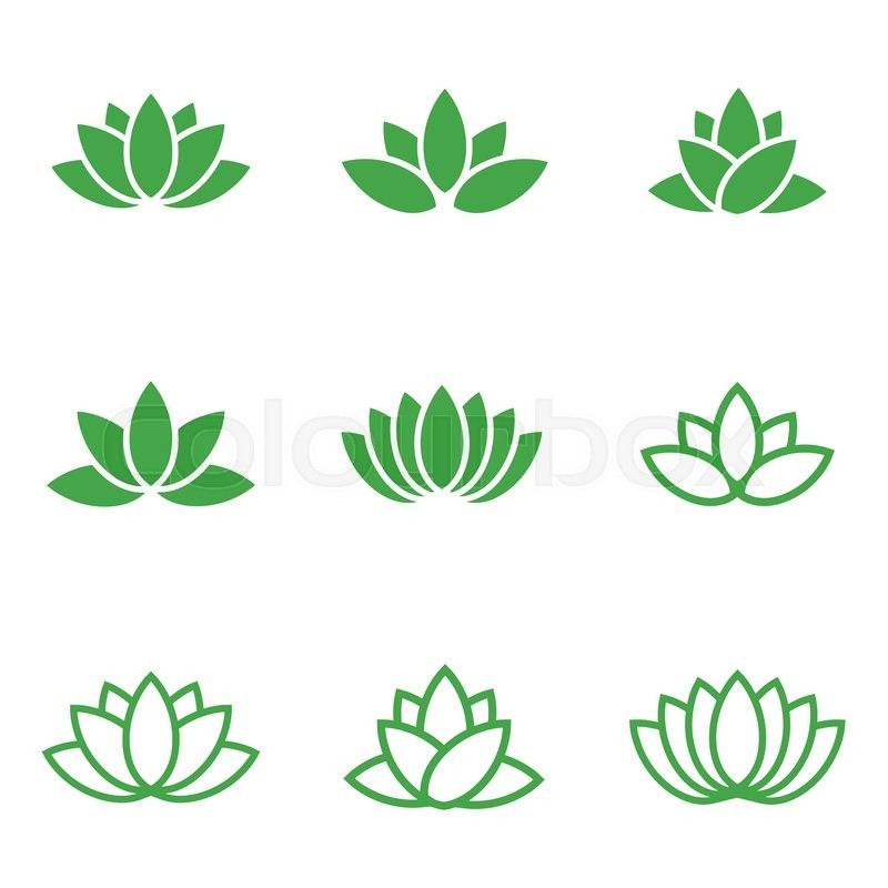 Vector Green Lotus Icons Set On White Stock Vector Colourbox