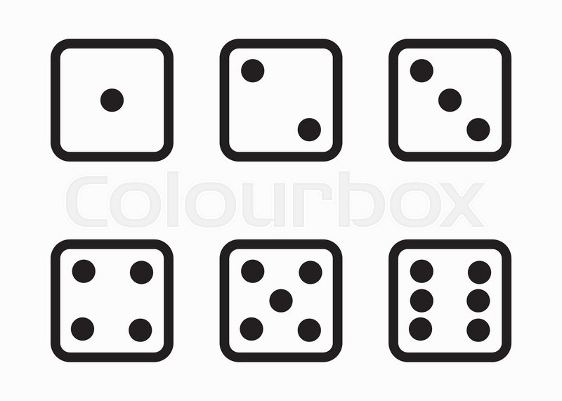 vector black line dice cubes icons set on white background bunco clip art free images 3 Bunco Dice