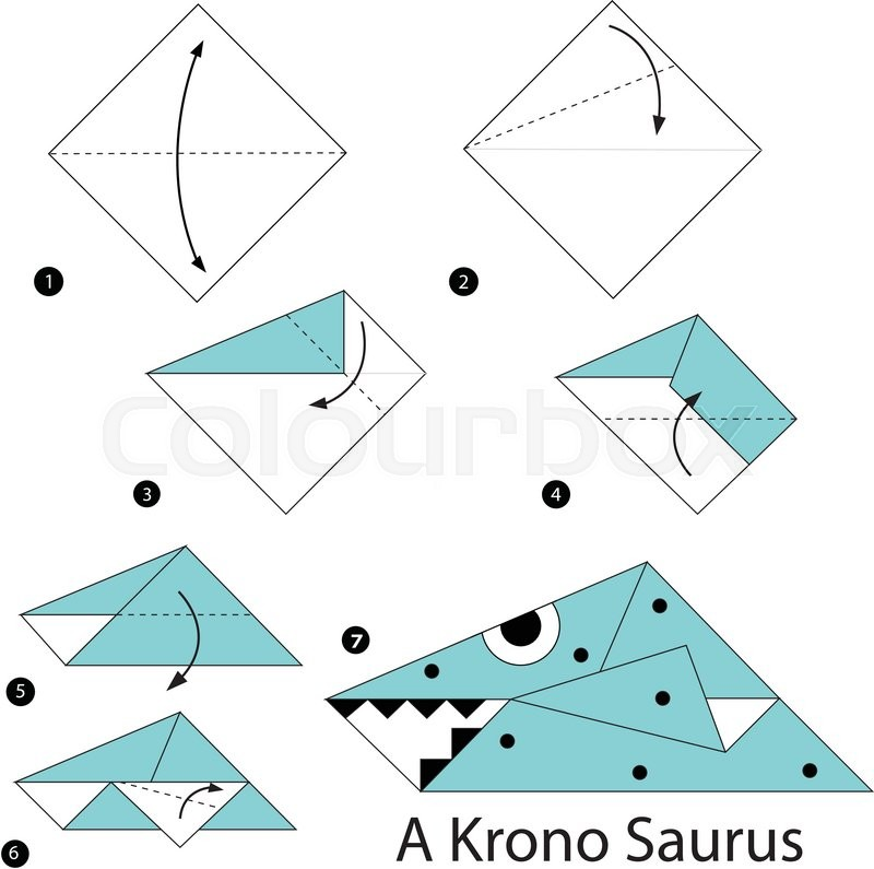 Step By Step Instructions How To Make An Origami A Dinosaur Stock