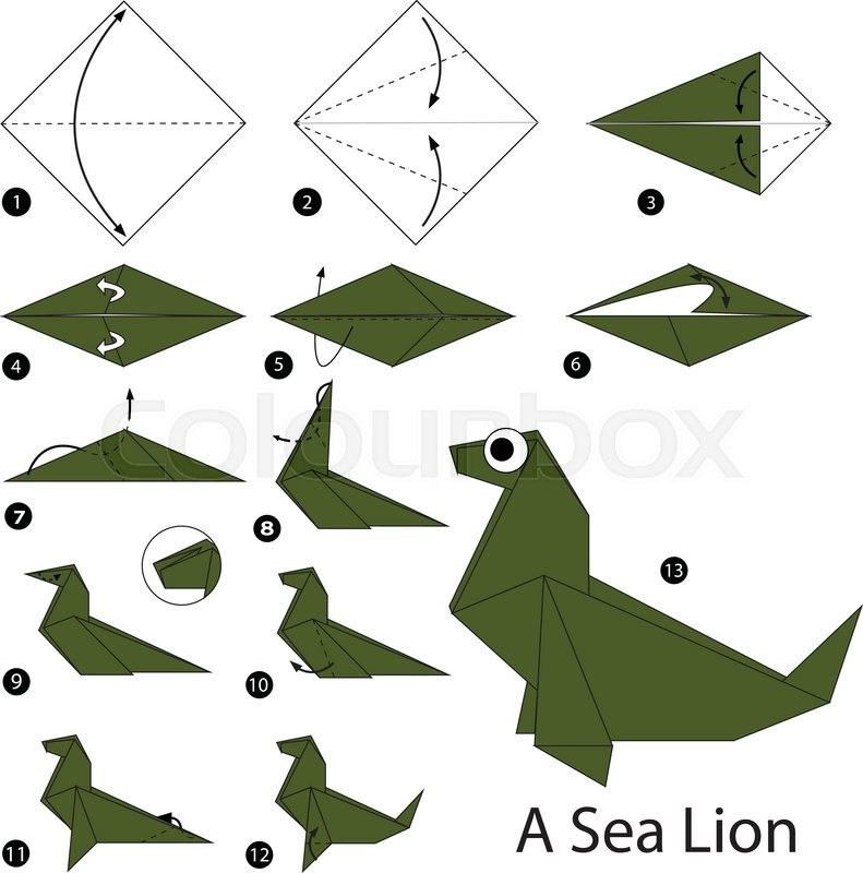 Step By Instructions How To Make Origami A Sea Lion