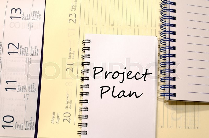 Project plan text concept write on notebook, stock photo