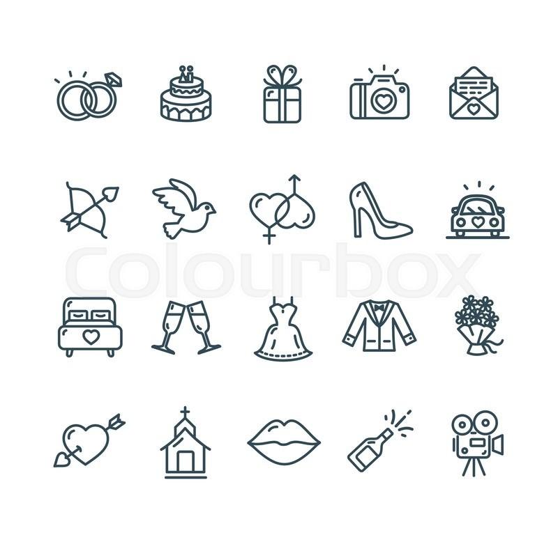 Wedding Outline Black Icon Set Vector Illustration