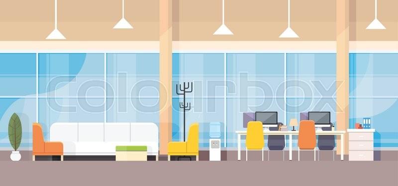 Modern Bank Office Interior Workplace Desk Flat Design Vector Illustration,  Vector