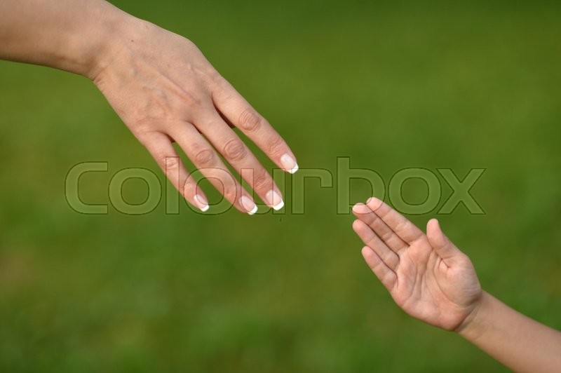 Two hands on green baackground close up, stock photo