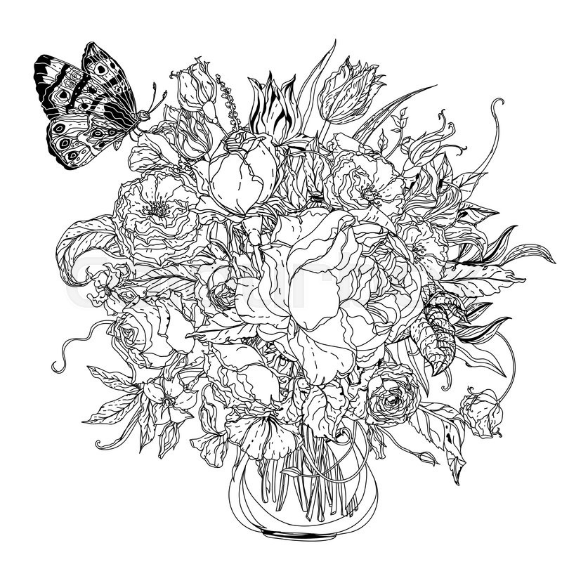 Wedding Flower Line Drawing : Artistic uncolored for colouring book syle luxury roses