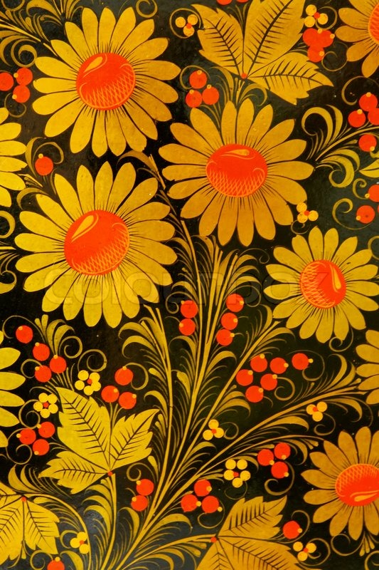 Painted flowers Russian style for background | Stock Photo
