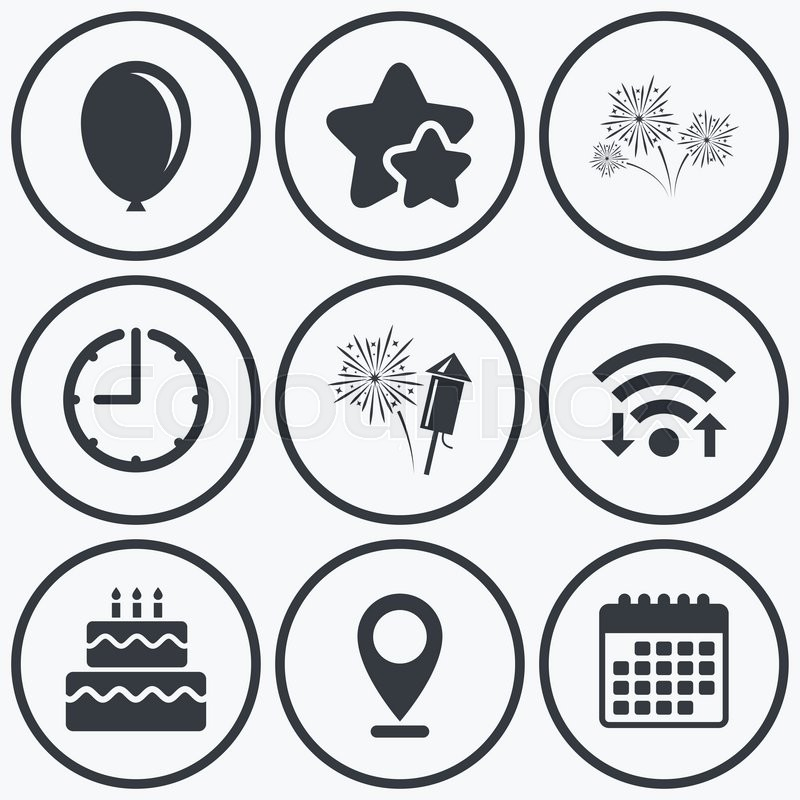 Clock Wifi And Stars Icons Birthday Party Icons Cake And Gift Box