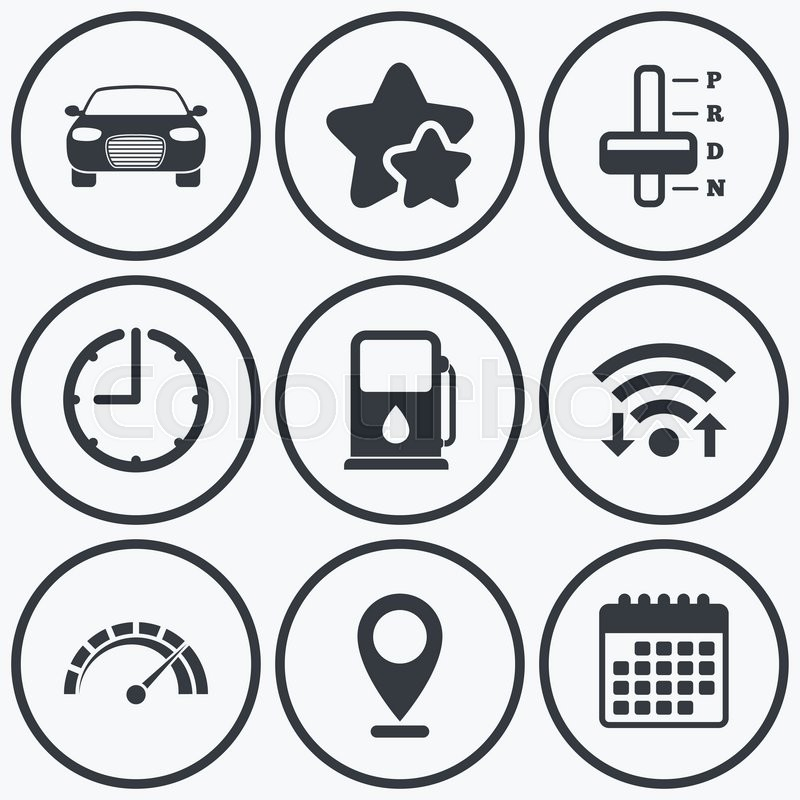 Clock Wifi And Stars Icons Transport Icons Car Tachometer And