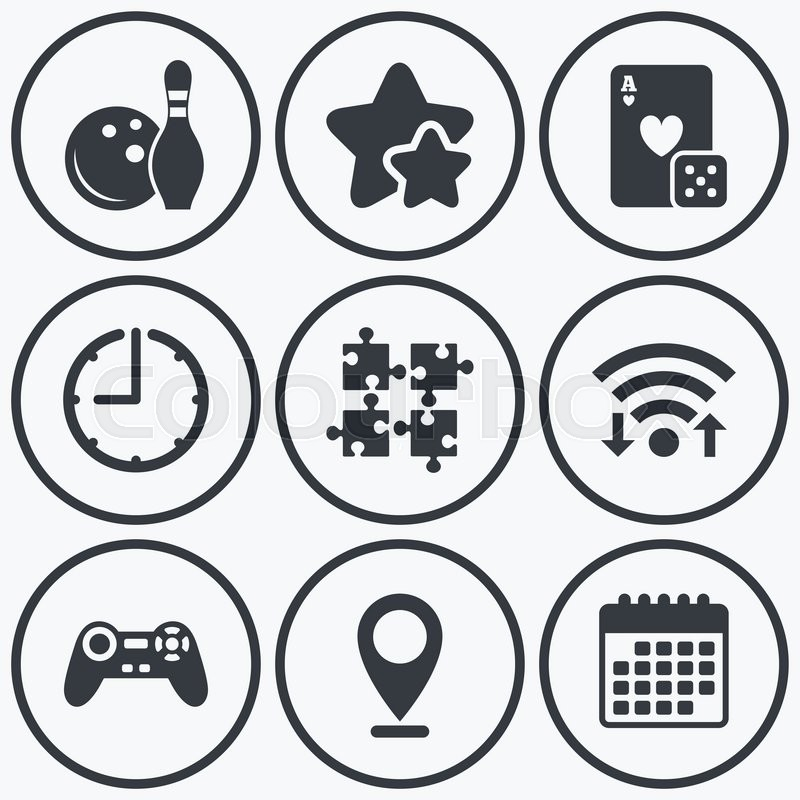 Clock Wifi And Stars Icons Bowling And Casino Icons Video Game