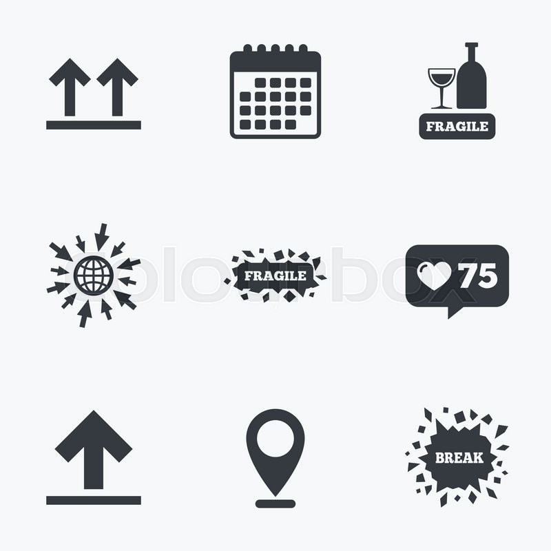 Calendar Like Counter And Go To Web Icons Fragile Icons Delicate