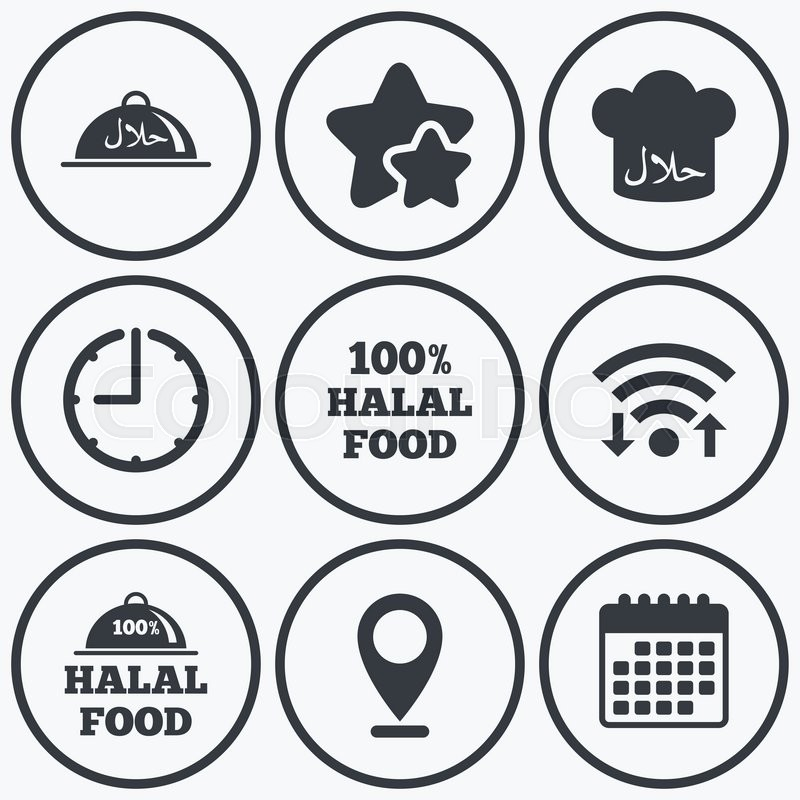 Clock Wifi And Stars Icons Halal Food Icons 100 Natural Meal