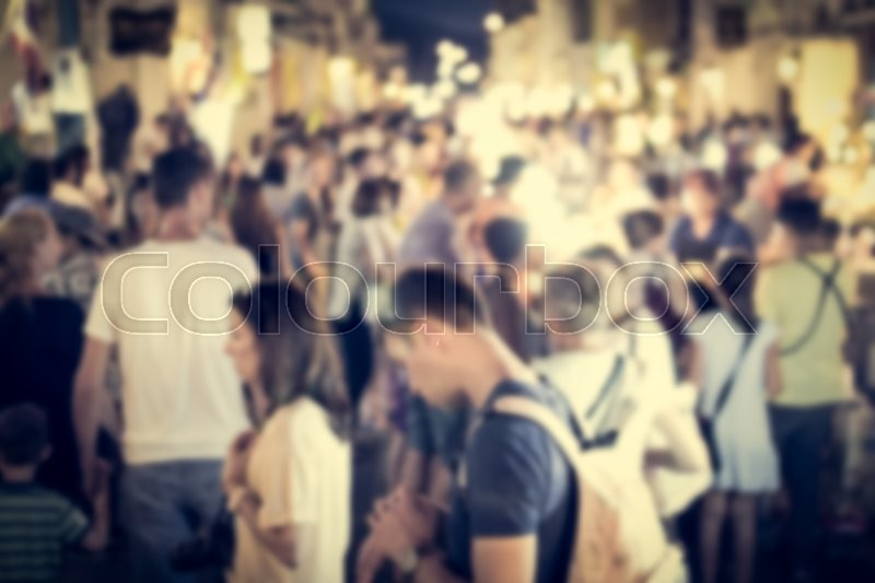 Festival event with blurred people on the street background in phuket, stock photo