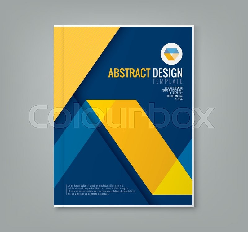 Corporate Book Cover Design Vector : Abstract yellow line design on blue background template