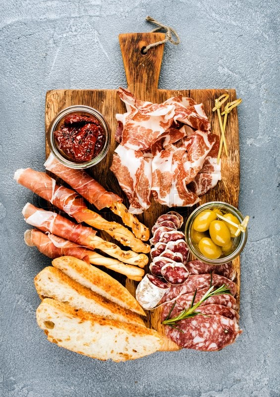 Meat Appetizer Selection Or Wine Snack Set Variety Of