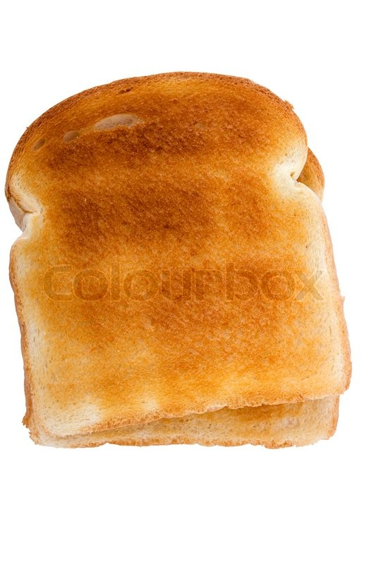 slice of toasted white bread isolated on a white background stock