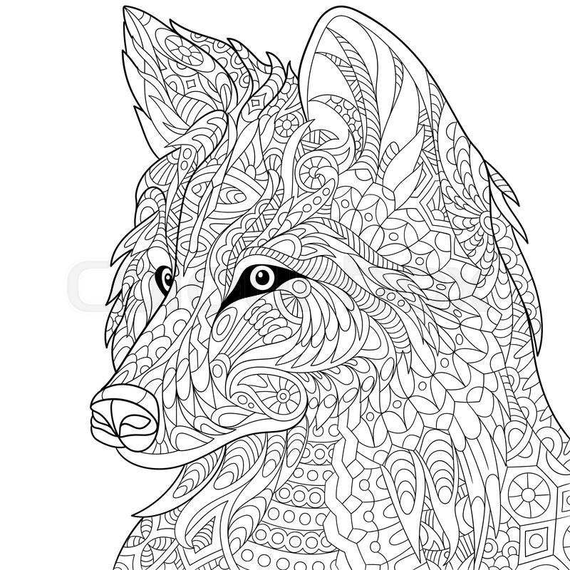 Zentangle Stylized Cartoon Wolf Isolated On White