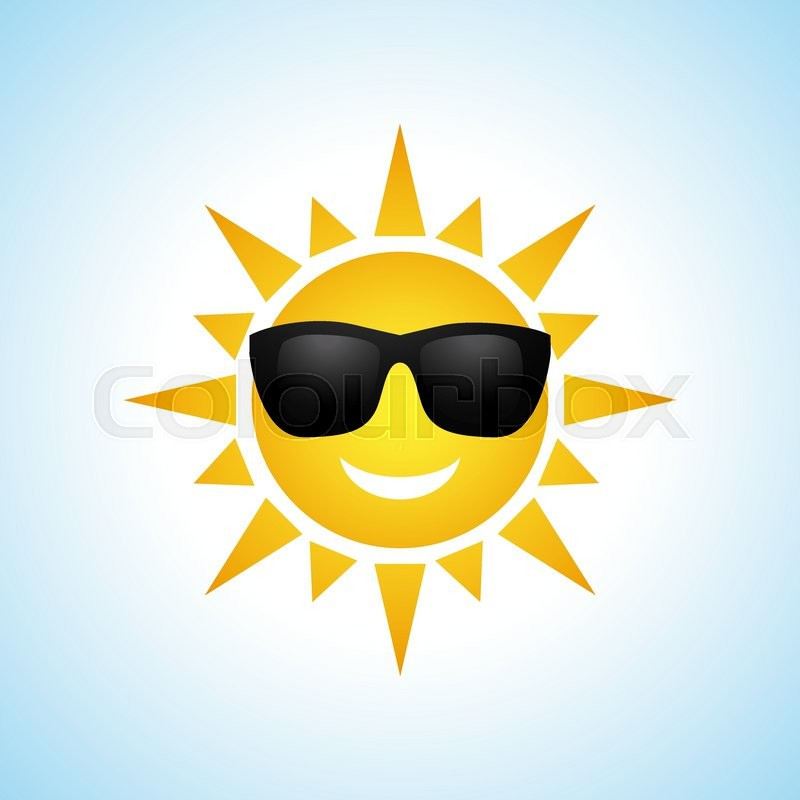 Cute yellow sun symbol in sunglasses isolated on white background ...