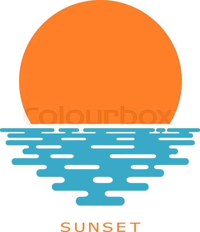 Sunset On A White Background Sun Icon Isolate
